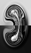 Abstract Digital Art Paintings - Deep Inside Truth black and white digital art by Georgeta  Blanaru