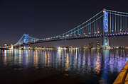 David  Zanzinger - Delaware River Ben Franklin Bridge Lit...