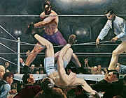 Sport Oil Paintings - Dempsey v Firpo in New York City by George Wesley Bellows