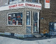 Art Of Verdun Paintings - Depanneur Regina by Reb Frost