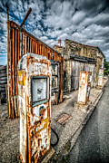 Worn Digital Art Prints - Derelict Gas Station Print by Adrian Evans