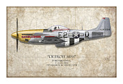 Aviation Artwork Posters - Detroit Miss P-51D Mustang - Map Background Poster by Craig Tinder