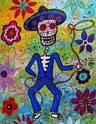 Cow Boy Paintings - Dia De Los Muertos Vaquero by Pristine Cartera Turkus