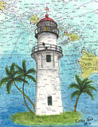 Diamond Head Framed Prints - Diamond Head Lighthouse HI Nautical Chart Map Art Framed Print by Cathy Peek