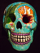 Tropical Fish Sculpture Posters - Dias de la Muertos Skull Tropical Reef I Poster by Tristina Dietz Elmes