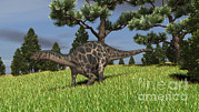 Three Dimensional Posters - Dicraeosaurus Walking Across An Open Poster by Kostyantyn Ivanyshen