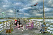 Beach Scenery Prints - Die Hard Fishermen Print by Betsy A Cutler East Coast Barrier Islands