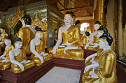 Civilizations Originals - different sitting Buddhas in a circle in SHWEDAGON PAGODA by Juergen Ritterbach