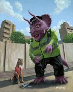 Kids Room Art Digital Art Prints - Dinosaur Community Policeman helping youngster Print by Martin Davey