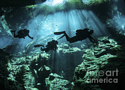 Water In Cave Prints - Diver Enters The Cavern System Print by Karen Doody