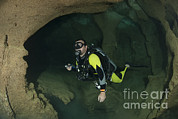 Technical Posters - Diver Exploring Underwater Cavern Poster by Steve Jones