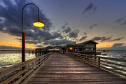 Night Scenes Prints - Dock lights at Jekyll Island Print by Debra and Dave Vanderlaan
