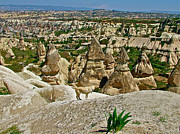 Chimneys Digital Art Posters - Dog Looking at Fairy Chimneys in Cappadocia-Turkey Poster by Ruth Hager
