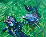 Ocean Mammals Originals - Dolphins by Louise Hallauer
