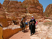 Donkeys Share The Trail To The Monastery In Petra-jordan Print by Ruth Hager