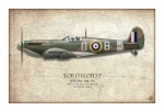 Mitchell Prints - Douglas Bader Spitfire - Map Background Print by Craig Tinder