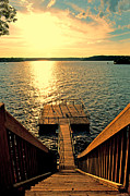 Down To The Fishing Dock - Lake Of The Ozarks Mo Print by Debbie Portwood