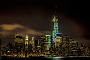 New York City Skyline Digital Art Framed Prints - Downtown Manhattan At Night Framed Print by Chris Lord
