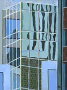 Highrise Painting Posters - Downtown Reflections Poster by Alika Kumar