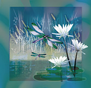 White Water Lilies Framed Prints - Dragonflies on blue Pond Framed Print by Gina Femrite