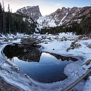 Reflection Of Rocks In Water Prints - Dream Lake Reflection Square Format Print by Aaron Spong