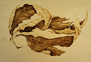 Leaf Pyrography Originals - Dream on Leaf by Raz Mohammad Amir
