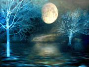 Blue Moon Photos - Dreamy Blue Moon Nature Trees - Surreal Full Blue Moon Nature Trees Fantasy Art by Kathy Fornal