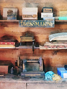 Dressmaker Posters - Dressmaking Supplies and Sewing Machine Poster by Susan Savad
