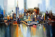 Dubai Paintings - Dubai Skyline  by Corporate Art Task Force