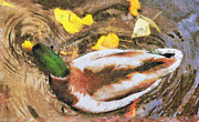 Waterfowl Paintings - Duck swimming in the lake by Odon Czintos