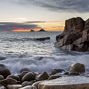 Kernow Photos - Dusk at Porth Nanven Cove by Helen Hotson