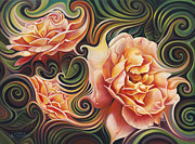 Flor Paintings - Dynamic Floral V  Roses by Ricardo Chavez-Mendez