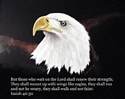 Isaiah 40:30 Framed Prints - Eagle with Scripture Framed Print by Zelma Hensel