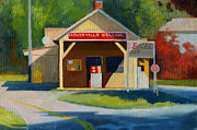 Service Station Paintings - Earlysville Virginia Old Service Station Nostalgia by Catherine Twomey