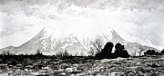 Grey Clouds Drawings Prints - East Spanish Peak Print by Aaron Spong