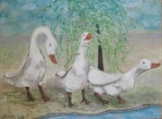 Geese Paintings - Easter Time  by Reina Resto