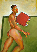 Male Nude Paintings - Eduardo on Green Blanket by Douglas Simonson