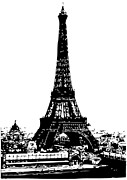 Eiffel Tower Drawings Metal Prints - Eiffel Tower Black Metal Print by