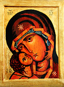 Theotokos Paintings - Eleusa icon by Ryszard Sleczka