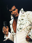 King Of Pop Paintings - Elvis Presley by Paul  Meijering