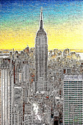 Cities Digital Art Metal Prints - Empire State Building New York City 20130425 Metal Print by Wingsdomain Art and Photography