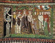 Byzantine Posters - Empress Theodora With Her Court. Ca Poster by Everett