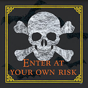 Black Painting Posters - Enter at Your Own Risk Poster by Debbie DeWitt