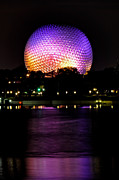 Purple Pyrography Metal Prints - Epcot Centre Metal Print by Karl Wilson