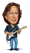 Caricatures Painting Prints - Eric Clapton Print by Art