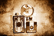 Camera Digital Art - European Travelers Mother And Daughter Cameras Sepia by Andee Photography