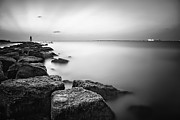 Galveston Metal Prints - Evening Stillness BW Metal Print by Thomas Zimmerman