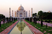 Color Green Posters - Evening Taj Mahal with Reflection Poster by Linda Phelps