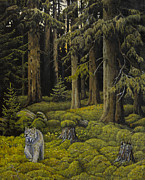 Wooden Painting Metal Prints - Evergreen Forest Metal Print by Veikko Suikkanen