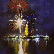 Fireworks Painting Metal Prints - Expo Celebrations Metal Print by Corporate Art Task Force
